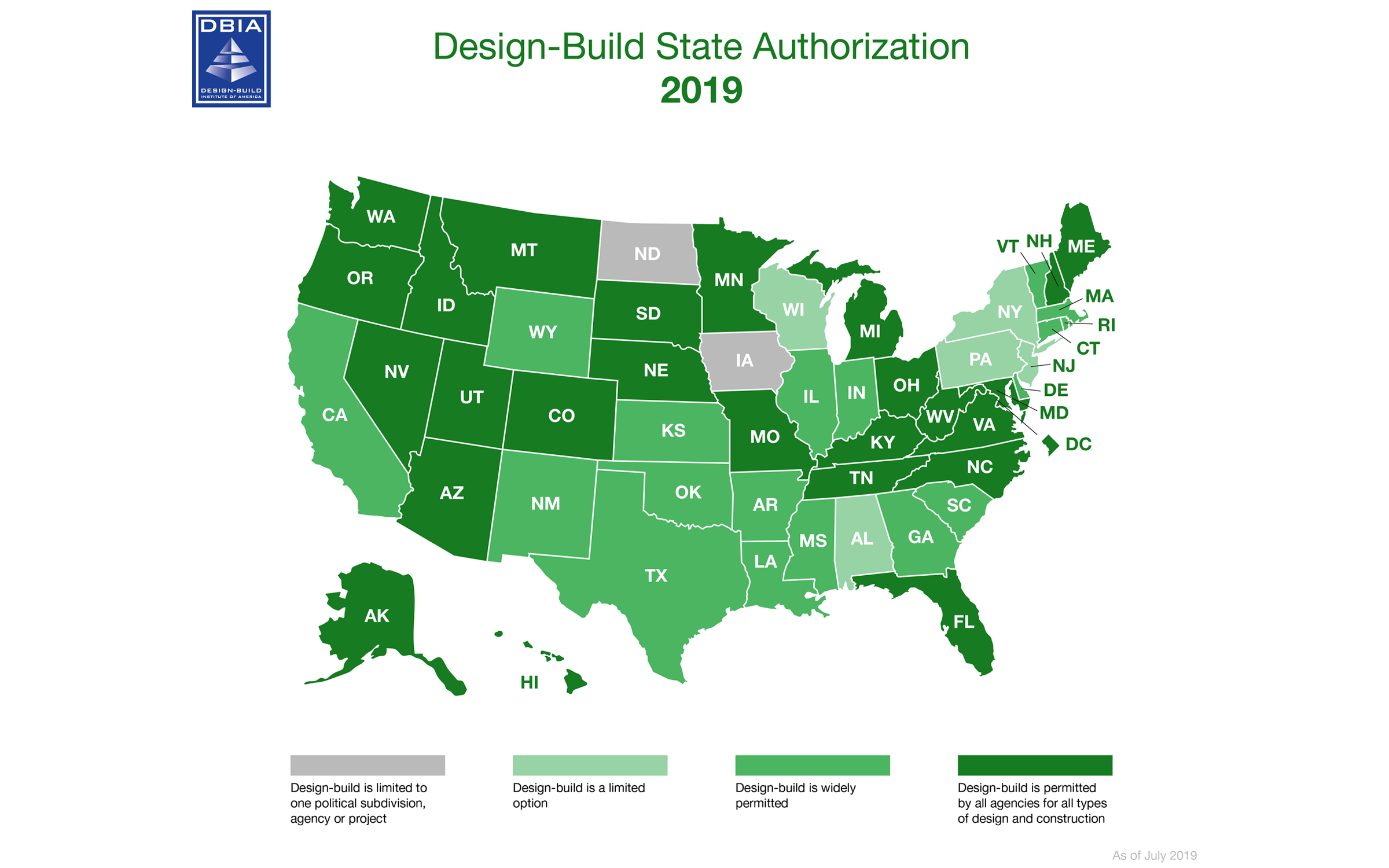 Design-Build State Authorization Map 2019